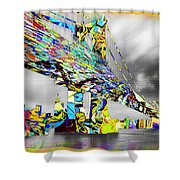 New York City Manhattan Bridge Pure Pop Gold Shower Curtain