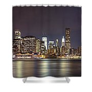 New York City - Manhattan Waterfront At Night Shower Curtain