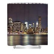 New York City - Manhattan Waterfront At Night Shower Curtain