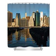 New York City Morning Reflections - Impressions Of Manhattan Shower Curtain