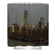 New York City Skyline Aerial - Lower Manhattan Shower Curtain