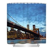 New York City Skyline By Night Shower Curtain