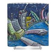 New York City Skyline Hoboken Shower Curtain
