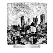 New York City Skyline Sketch Shower Curtain