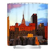 New York City Skyline Sunset Shower Curtain