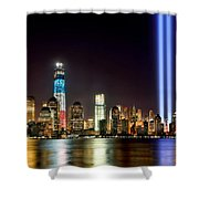 New York City Skyline Tribute In Lights And Lower Manhattan At Night Nyc Shower Curtain