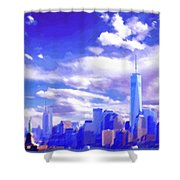 New York City Skyline With Freedom Tower Shower Curtain