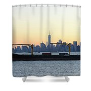New York City Skyline With Passing Container Ship Shower Curtain