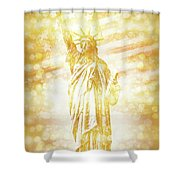New York City Statue Of Liberty With American Banner - Golden Painting Shower Curtain