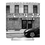 New York City Storefront Bw4 Shower Curtain