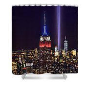 New York City Tribute In Lights Empire State Building Manhattan At Night Nyc Shower Curtain