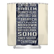 New York City Vintage Subway Stops With Map Shower Curtain