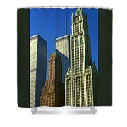 New York City - Woolworth Building And World Trade Center Shower Curtain