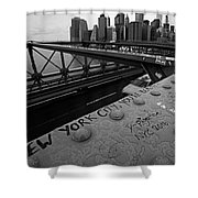 New York City You're Beautiful Brooklyn Bridge Ny Black And White Shower Curtain