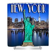 New York Classic Skyline With Statue Of Liberty Shower Curtain