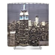 New York Empire State Building Blurred  Shower Curtain