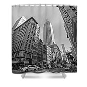 New York Fifth Avenue Taxis Empire State Building Black And White Shower Curtain