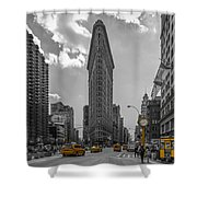 New York - Flatiron Building And Yellow Cabs - 2 Shower Curtain
