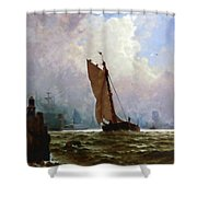 New York Harbor With The Brooklyn Bridge Under Construction Shower Curtain