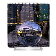 New York In Glass Ball Shower Curtain