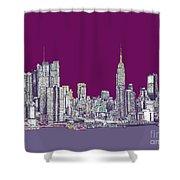 New York In Purple Shower Curtain by Adendorff Design