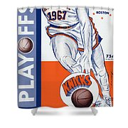 New York Knicks V Boston 1967 Playoff Program Shower Curtain