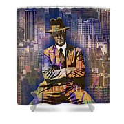 New York Man Seated City Background 1 Shower Curtain
