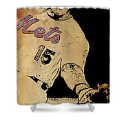New York Mets 15 Red And Blue Vintage Cards On Brown Background Shower Curtain