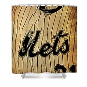 New York Mets 21 Red And Blue Vintage Cards On Brown Background Shower Curtain