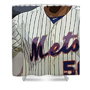 New York Mets Baseball Team And New Typography Shower Curtain
