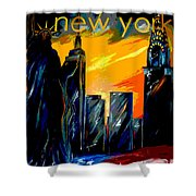 New York Night Skyline Shower Curtain