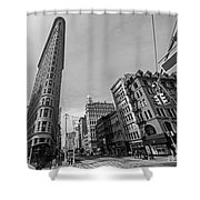 New York Ny Flatiron Building Fifth Avenue Black And White Shower Curtain