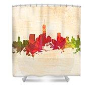 New York Orange Skyline Shower Curtain