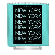 New York - Pale Blue On Black Background Shower Curtain