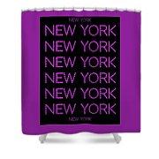 New York - Pink On Black Background Shower Curtain
