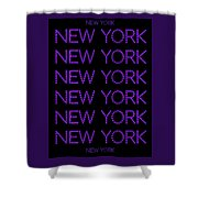 New York - Purple On Black Background Shower Curtain