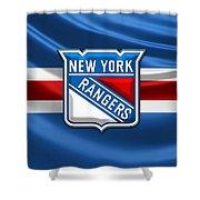 New York Rangers - 3d Badge Over Flag Shower Curtain