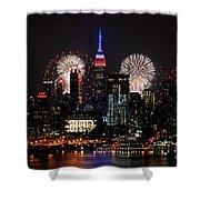 New York Skyline And Fireworks Shower Curtain