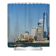 New York Skyline And Sailboat Shower Curtain