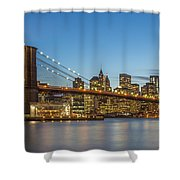 New York Skyline - Brooklyn Bridge Shower Curtain