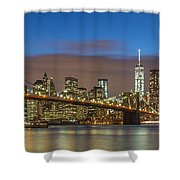 New York Skyline - Brooklyn Bridge Panorama - 2 Shower Curtain