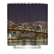 New York Skyline - Brooklyn Bridge Panorama - 3 Shower Curtain