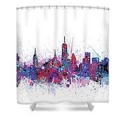 New York Skyline Color Splatter Shower Curtain