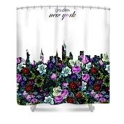 New York Skyline Floral 3 Shower Curtain