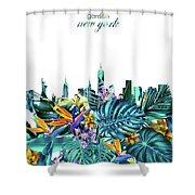 New York Skyline Floral  6 Shower Curtain