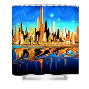 New York Skyline Blue Orange - Modern Art Shower Curtain