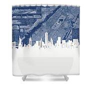 New York Skyline Map 2 Shower Curtain