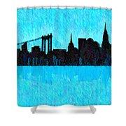 New York Skyline Silhouette Cyan - Da Shower Curtain