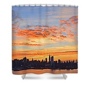 New York Skyline Sunrise Clouds And Color Shower Curtain