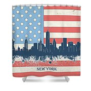 New York Skyline Usa Flag 4 Shower Curtain